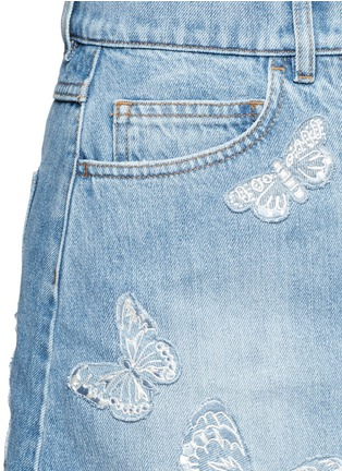 Detail View - Click To Enlarge - Valentino - 'Denimbutterfly' embroidered denim skirt