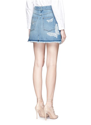 Back View - Click To Enlarge - Valentino - 'Denimbutterfly' embroidered denim skirt