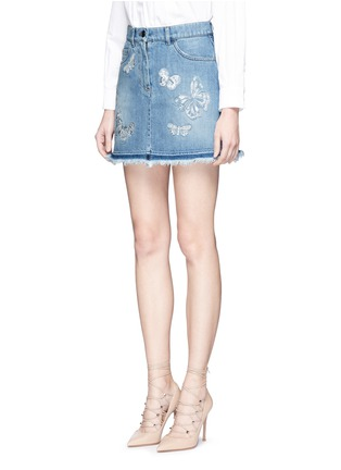 Front View - Click To Enlarge - Valentino - 'Denimbutterfly' embroidered denim skirt