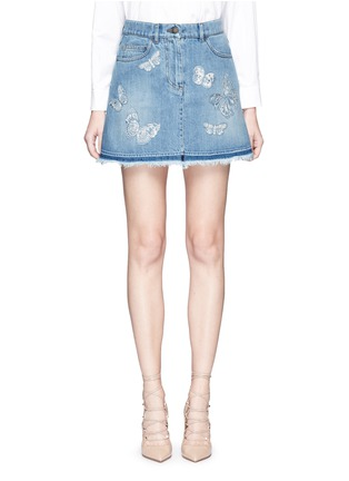 Main View - Click To Enlarge - Valentino - 'Denimbutterfly' embroidered denim skirt