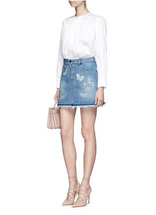 Figure View - Click To Enlarge - Valentino - 'Denimbutterfly' embroidered denim skirt