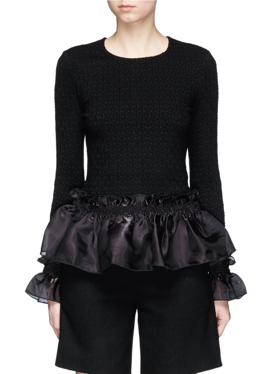 Organdy ruffle floral jacquard top by Opening Ceremony