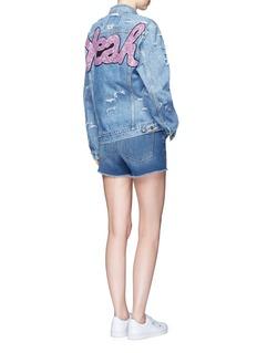 Forte Couture'Yeah' glitter slogan appliqué denim jacket