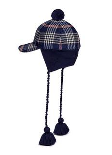 GucciPompom tassel knit earflap tartan cap