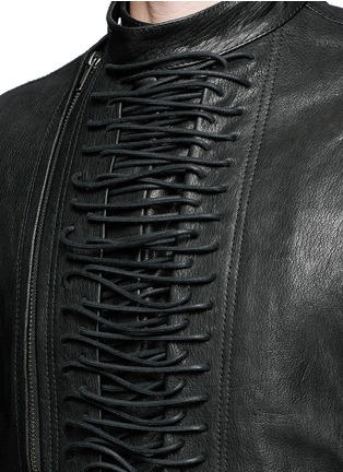 Detail View - Click To Enlarge - Haider Ackermann - 'Miza' lace-up front leather jacket