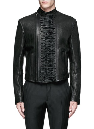 Main View - Click To Enlarge - Haider Ackermann - 'Miza' lace-up front leather jacket