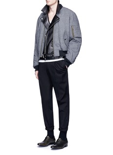 Haider AckermannFleece wool houndstooth knit bomber jacket