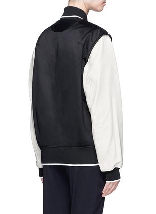 Back View - Click To Enlarge - rag & bone - 'Edith' leather sleeve padded felt varsity jacket