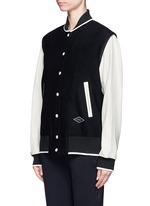 'Edith' leather sleeve padded felt varsity jacket
