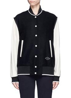rag & bone'Edith' leather sleeve padded felt varsity jacket