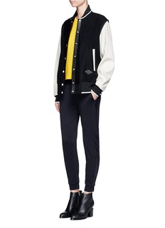 rag & bone 'Edith' leather sleeve padded felt varsity jacket