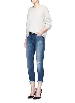 模特儿示范图 - 点击放大 - J BRAND - 水洗磨破牛仔布长裤