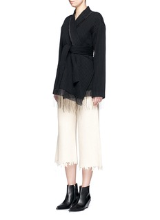 Ms MINAsymmetric chunky wool ribbed wrap jacket