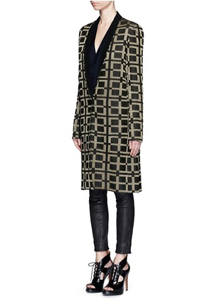 Front View - Click To Enlarge - Haider Ackermann - Check jacquard linen-silk coat