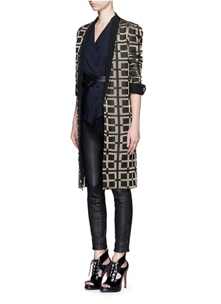 Figure View - Click To Enlarge - Haider Ackermann - Check jacquard linen-silk coat