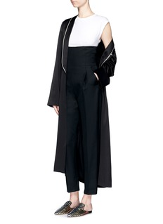 HAIDER ACKERMANN Contrast piping satin overcoat