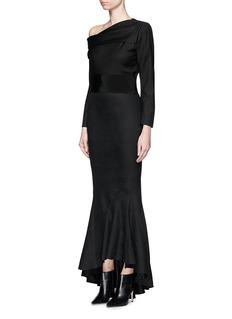 HAIDER ACKERMANN'Maban' one-shoulder linen-wool fishtail dress