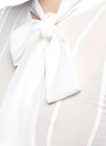 Layered ruffle sleeve silk chiffon top