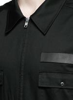 Leather patch appliqué jumpsuit