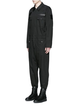 Front View - Click To Enlarge - Alexander Wang  - Leather patch appliqué jumpsuit