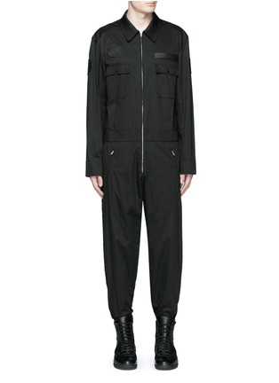 Main View - Click To Enlarge - Alexander Wang  - Leather patch appliqué jumpsuit