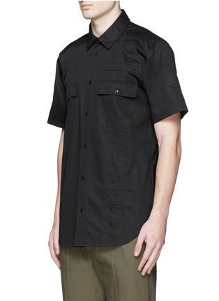 Front View - Click To Enlarge - Alexander Wang  - Patch appliqué cotton twill shirt