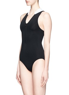 BETH RICHARDS 'Taylor' zip front one-piece swimsuit