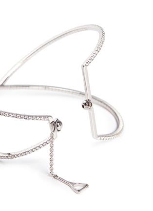 Detail View - Click To Enlarge - Messika - 'Skinny Croise' diamond 18k white gold cross bracelet