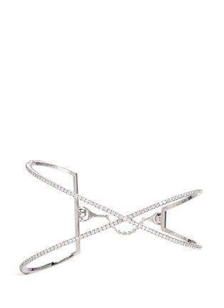 Main View - Click To Enlarge - Messika - 'Skinny Croise' diamond 18k white gold cross bracelet