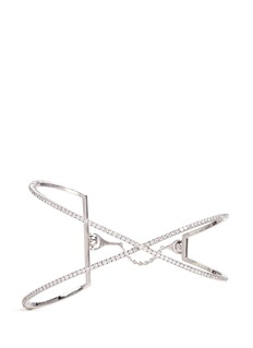 Messika 'Skinny Croise' diamond 18k white gold cross bracelet