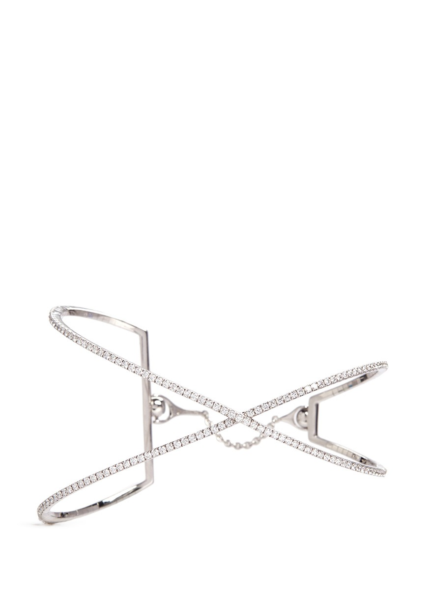 Skinny Croise diamond 18k white gold cross bracelet by Messika