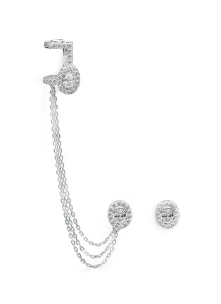 Main View - Click To Enlarge - Messika - 'Rock Amazone' diamond 18k white gold asymmetric earring and cuff set