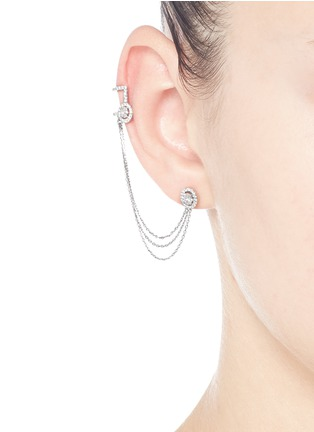 Figure View - Click To Enlarge - Messika - 'Rock Amazone' diamond 18k white gold asymmetric earring and cuff set
