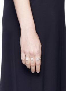 Messika'Amazone Multishape' diamond 18k white gold three finger ring