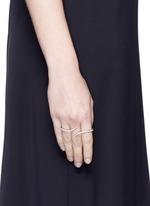 'Daisy' diamond 18k white gold three finger ring
