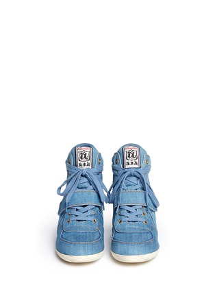 Front View - Click To Enlarge - Ash - 'Bowie' denim concealed wedge sneakers
