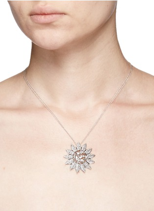 Detail View - Click To Enlarge - Melville Fine Jewellery - 'Aurora' diamond 18k white gold sun pendant necklace