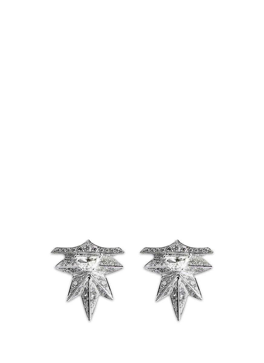 Eastern Light diamond 18k white gold spike earrings by Melville Fine Jewellery