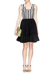 Dolce & GabbanaLace ruffle skirt stripe crepe dress