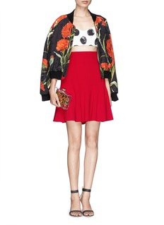 Dolce & GabbanaPaint effect polka dot print cropped top