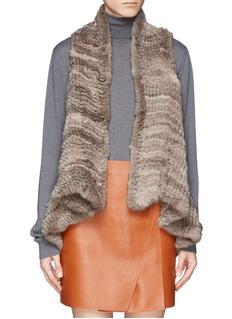 H BRAND'Indie' rabbit fur knit drape gilet