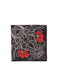 ALEXANDER MCQUEEN Tulip and thorn print silk scarf