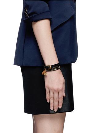 Figure View - Click To Enlarge - Alexander McQueen - Double wrap stud bracelet