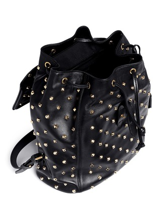 Detail View - Click To Enlarge - Alexander McQueen - 'Padlock' stud leather backpack