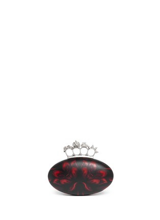 Back View - Click To Enlarge - Alexander McQueen - Punk skull knuckleduster mosaic tulip leather clutch