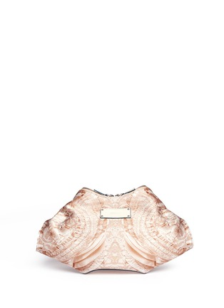 Back View - Click To Enlarge - Alexander McQueen - 'De-Manta' lace print satin clutch