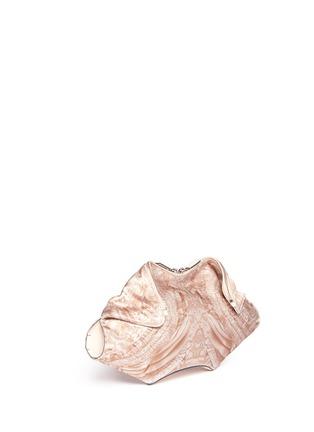 Front View - Click To Enlarge - Alexander McQueen - 'De-Manta' lace print satin clutch