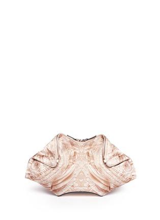 Main View - Click To Enlarge - Alexander McQueen - 'De-Manta' lace print satin clutch