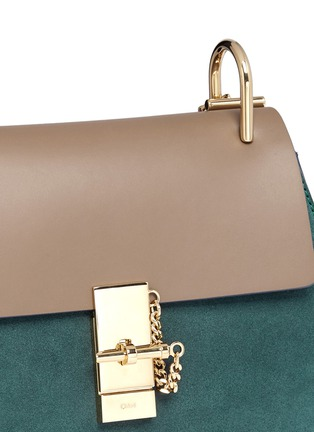 Detail View - Click To Enlarge - Chloé - 'Drew' leather flap suede shoulder bag