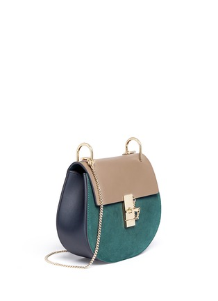Front View - Click To Enlarge - Chloé - 'Drew' leather flap suede shoulder bag